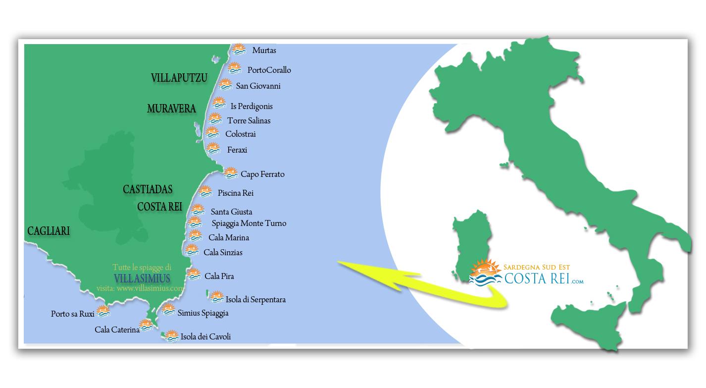 Mappa Sardegna Zona Cagliari.Spiagge Consigliate Le Piu Belle Costa Rei Sardegna Sud Est