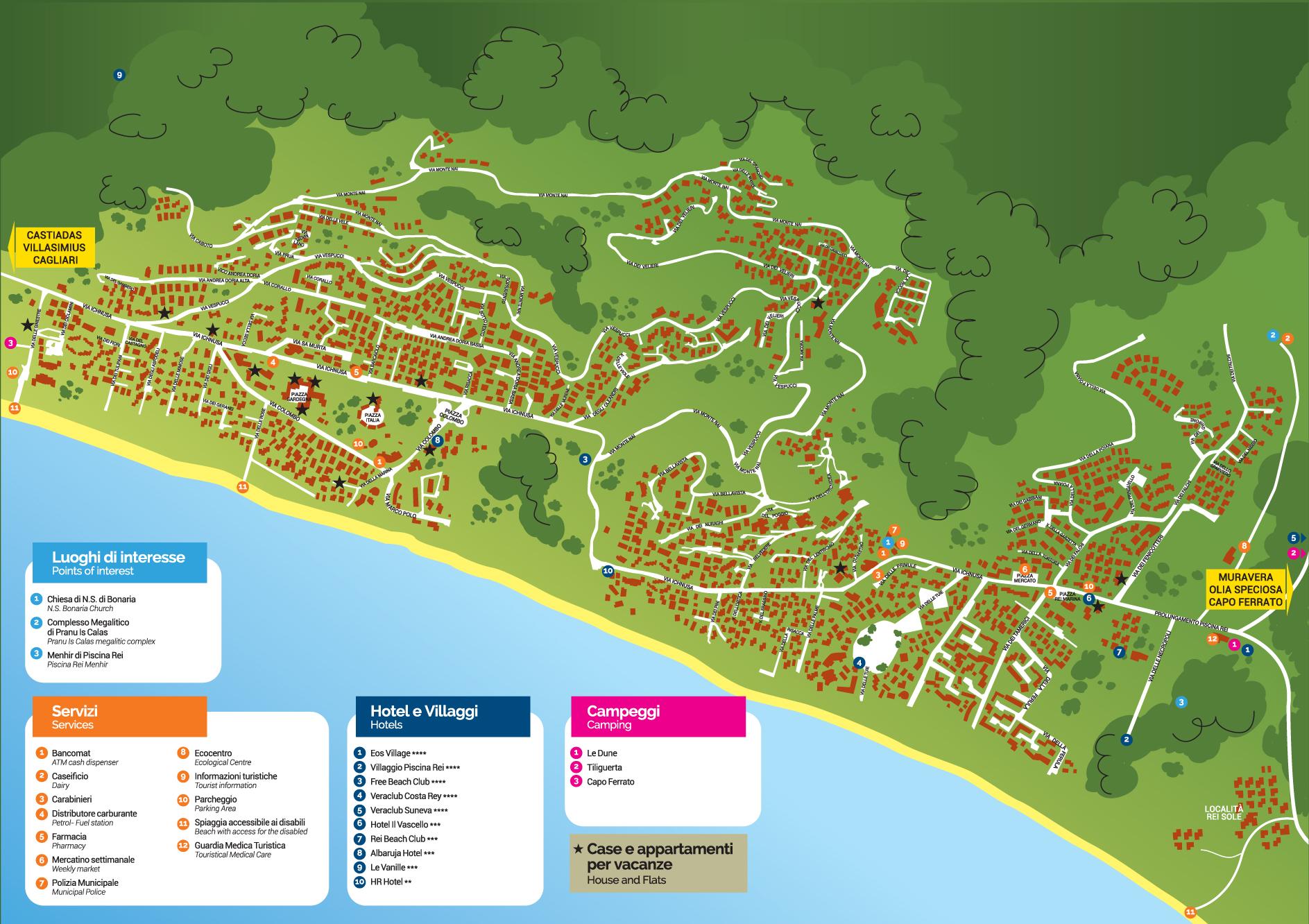 Cartina Sardegna Con Hotel.Cartina Costa Rei Costa Rei Sardegna Sud Est